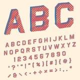 Alphabet with angular letters in retro superhero comic book. Alphabet in retro superhero comic book with angular 3d shapes in red, blue and yellow tones stock illustration