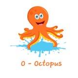 Alphabet animal d'isolement pour les enfants, O pour le poulpe Photographie stock
