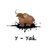 Alphabet animal d'isolement pour les enfants, Y pour des yaks Image libre de droits