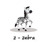 Alphabet animal d'isolement pour les enfants, Z pour le zèbre Image stock