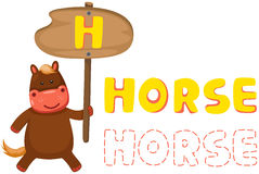 Alphabet animal h avec le cheval Photos libres de droits