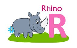alphabet animal letter r 犀牛的R 免版税图库摄影