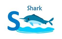 alphabet animal letter s S для акулы Стоковая Фотография
