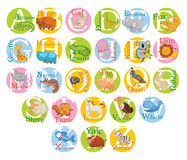 Alphabet animal mignon positionnement Photo libre de droits
