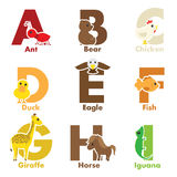 Alphabet animals. A vector illustration of alphabet animals from A to I Stock Images