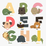 Alphabet. With animals and birds to study letters Stock Photo