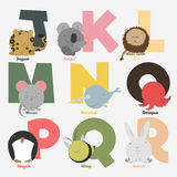 Alphabet. With animals and birds to study letters Stock Photography