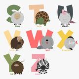 Alphabet. With animals and birds to study letters Royalty Free Stock Image