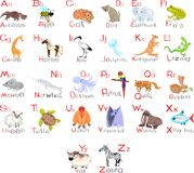 Alphabet with animals. Alphabet with different cute animals Royalty Free Stock Photo