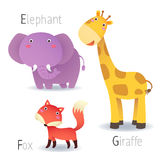 Alphabet with animals from E to G Royalty Free Stock Photos