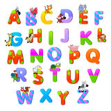 Alphabet with animals. Funny cartoon and vector isolated items Royalty Free Stock Photos