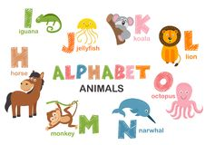 Alphabet with animals H to O. Vector illustration, eps royalty free illustration