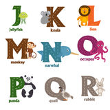 Alphabet with animals J to R. Vector illustration, eps Royalty Free Stock Images