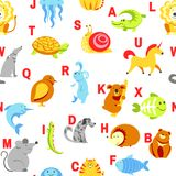 Alphabet animals and letters study for children vector. Alphabet animals and letters study material for children vector. U for unicorn, dog and hedgehog, mouse Royalty Free Illustration
