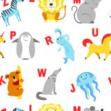 Alphabet animals and letters study material for children vector. U for unicorn, dog and hedgehog, mouse and cat, fish and turtle, snail and alligator. Seamless stock illustration