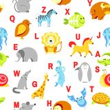 Alphabet animals and letters study material for children vector. U for unicorn, dog and hedgehog, mouse and cat, fish. And turtle, snail and alligator. Seamless stock illustration