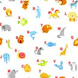 Alphabet animals and letters study material for children vector. U for unicorn, dog and hedgehog, mouse and cat, fish. And turtle, snail and alligator. Seamless vector illustration