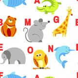 Alphabet animals and letters study material for children vector. U for unicorn, dog and hedgehog, mouse and cat, fish and turtle, snail and alligator. Seamless vector illustration