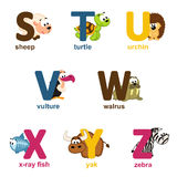 Alphabet animals from S to Z. Vector illustration Royalty Free Stock Image