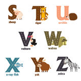 Alphabet with animals S to Z Royalty Free Stock Images