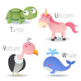 Alphabet with animals from T to W Royalty Free Stock Image
