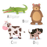 Alphabet with animals from A to D Set 2 Stock Photos