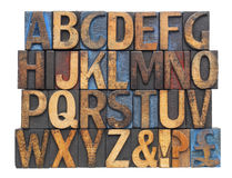 Alphabet in antique wood type. English alphabet with punctuation symbols  in vintage letterpress wood type blocks stained by blue, red and black ink, isolated on Royalty Free Stock Photos