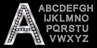Alphabet argenté avec les diamants, lettres d'A à Z illustration stock