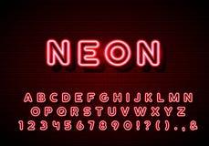 Alphabet au néon composé Lettres au néon de lueur réglées sur le fond de mur de briques illustration de vecteur