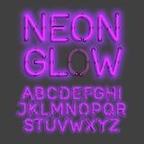 Alphabet au néon de lueur Photographie stock libre de droits