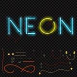 Alphabet au néon réaliste rougeoyer de fonte Format de vecteur illustration stock