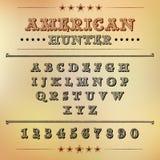 Alphabet avec des chiffres dans le style des westerns américains illustration stock