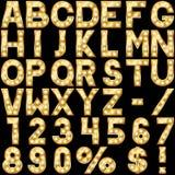 Alphabet avec des lampes d'exposition Image stock