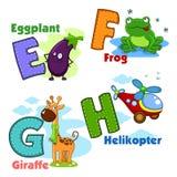 Alphabet avec des lettres et des photos à elles Photo stock