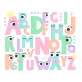 Alphabet avec des yeux et des mèches sur le fond blanc Photos stock