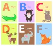 Alphabet avec l'ensemble plat animal de vecteur de bande dessinée mignonne Photographie stock