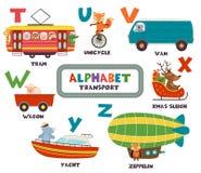 Alphabet avec le transport et les animaux T à Z illustration stock