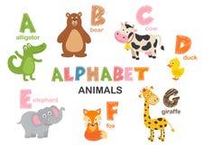 Alphabet avec les animaux A à G illustration stock