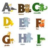 Alphabet avec les animaux A à I Photos libres de droits