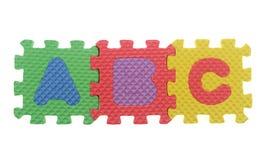 Alphabet A B C puzzle pieces on white background Stock Photos