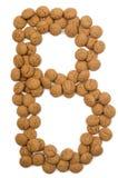 Alphabet B de noix de gingembre Image stock