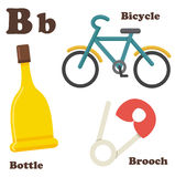 Alphabet B letter.Bottle,Bicycle,Brooch Royalty Free Stock Image