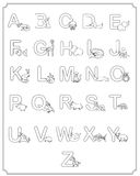 Alphabet baby animals ABC children coloring page. With frame Royalty Free Stock Photos