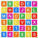 Alphabet Baby Blocks. Letters and Numbers set on a white background stock illustration