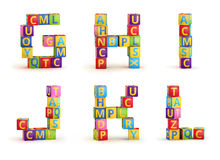 Alphabet on a baby cubes letters Stock Image