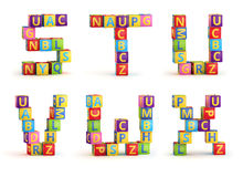 Alphabet on a baby cubes letters Royalty Free Stock Photo