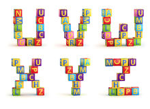 Alphabet on a baby cubes letters Stock Photography