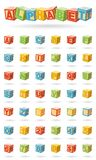 Alphabet on a baby cubes vector. Easy to change colors and rotate blocks. Vector illustration isolated on white background royalty free illustration