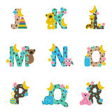 Alphabet baby from J to R Royalty Free Stock Photos