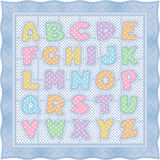 Alphabet Baby Quilt, Blue Pastel Royalty Free Stock Image